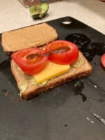 Tony's Peanut butter avocado tomato sandwich